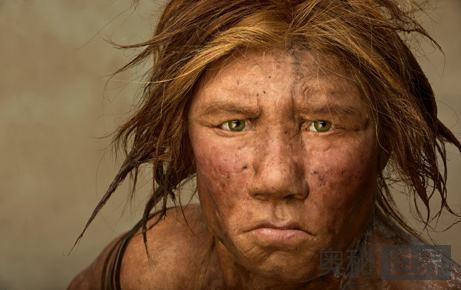 穴居人长着红头发白皮肤